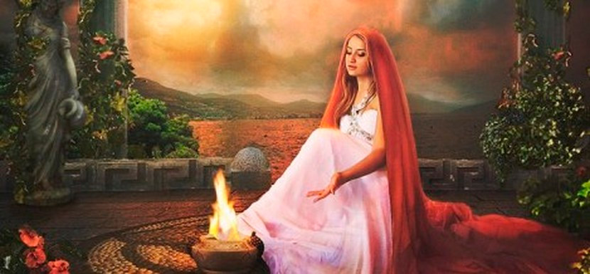 Ilustração da mitológica deusa da lareira Héstia.
