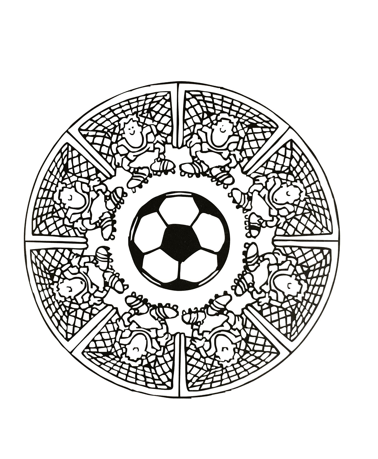 Mandala do futebol, ilustrando um gol, um homenzinho de chuteira e uma bola de futebol no centro.