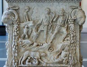 Mitologia Romana em uma placa de mármore. Fonte: Wikipédia