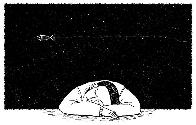 Homem dormindo e sonhando